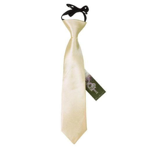 Champagne Plain Satin Elasticated Tie for Boys