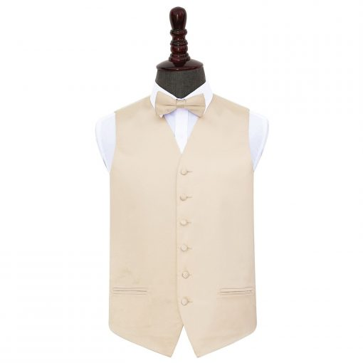 Champagne Plain Satin Wedding Waistcoat & Bow Tie Set