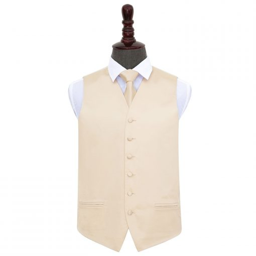 Champagne Plain Satin Wedding Waistcoat & Tie Set