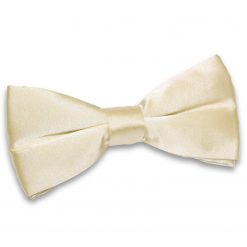Champagne Plain Satin Pre-Tied Bow Tie