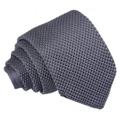 Charcoal Knitted Slim Tie