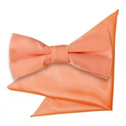 Coral Plain Satin Bow Tie & Pocket Square Set for Boys