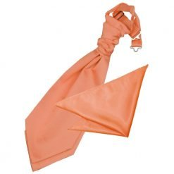 Coral Plain Satin Wedding Cravat & Pocket Square Set for Boys