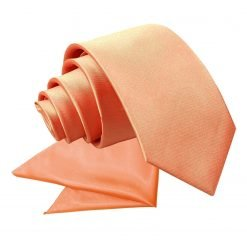 Coral Plain Satin Tie & Pocket Square Set for Boys