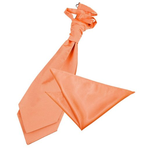 Coral Plain Satin Wedding Cravat & Pocket Square Set
