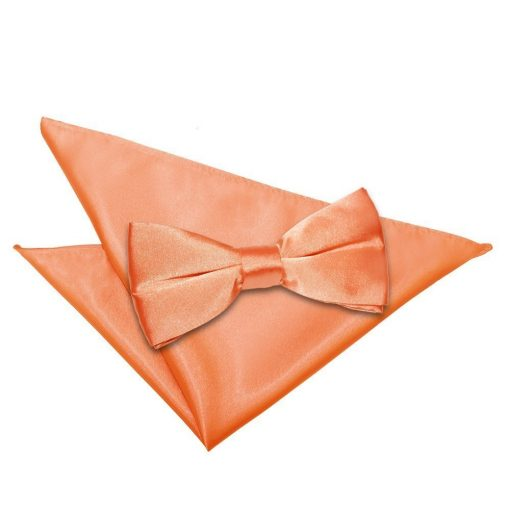 Coral Plain Satin Bow Tie & Pocket Square Set