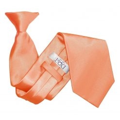 Coral Plain Satin Clip On Tie