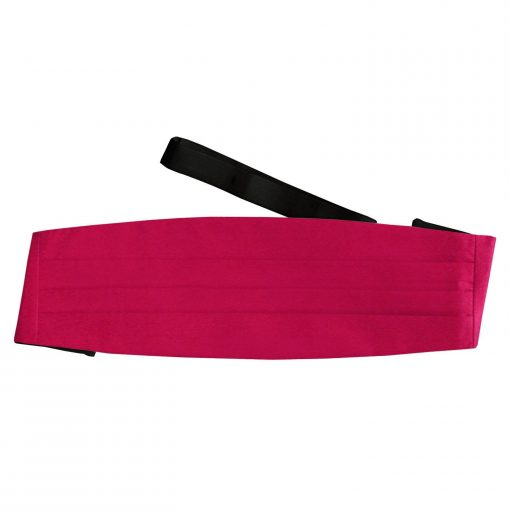 Crimson Red Plain Satin Cummerbund