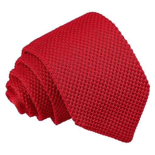 Crimson Red Knitted Slim Tie & Pocket Square Set