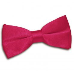 Crimson Red Plain Satin Pre-Tied Bow Tie