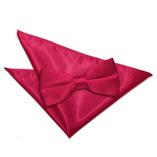 Crimson Red Plain Satin Bow Tie & Pocket Square Set