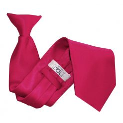 Crimson Red Plain Satin Clip On Tie