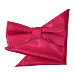 Crimson Red Plain Satin Bow Tie & Pocket Square Set for Boys