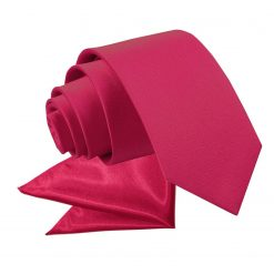 Crimson Red Plain Satin Tie & Pocket Square Set for Boys