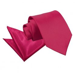 Crimson Red Plain Satin Tie & Pocket Square Set