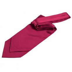 Crimson Red Plain Satin Self-Tie Wedding Cravat