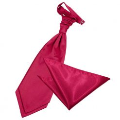 Crimson Red Plain Satin Wedding Cravat & Pocket Square Set
