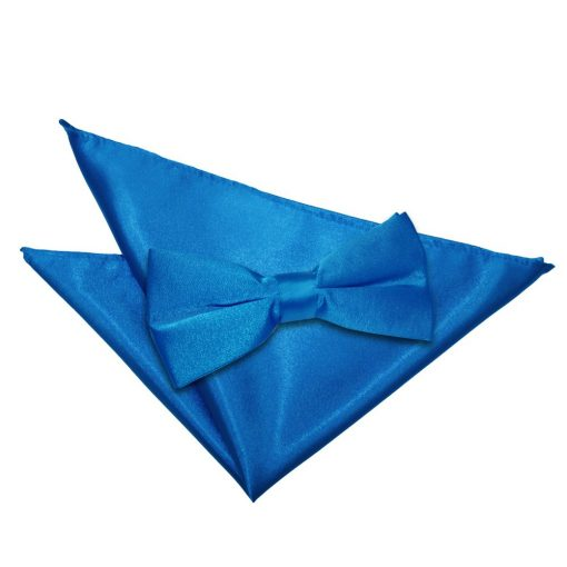 Electric Blue Plain Satin Bow Tie & Pocket Square Set
