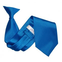 Electric Blue Plain Satin Clip On Tie