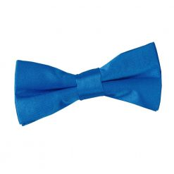 Electric Blue Plain Satin Pre-Tied Bow Tie for Boys