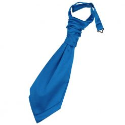 Electric Blue Plain Satin Pre-Tied Wedding Cravat for Boys