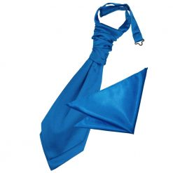 Electric Blue Plain Satin Wedding Cravat & Pocket Square Set for Boys