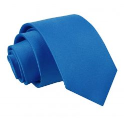 Electric Blue Plain Satin Regular Tie for Boys