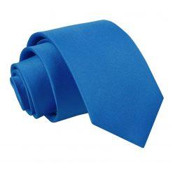 Electric Blue Plain Satin Regular Tie for Boys