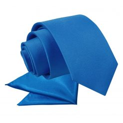 Electric Blue Plain Satin Tie & Pocket Square Set for Boys