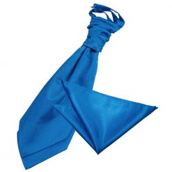 Electric Blue Plain Satin Wedding Cravat & Pocket Square Set