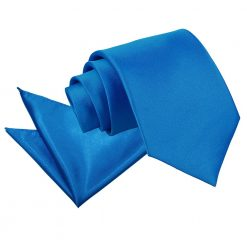 Electric Blue Plain Satin Tie & Pocket Square Set