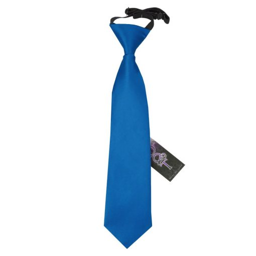 Electric Blue Plain Satin Elasticated Tie for Boys