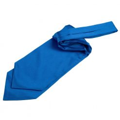 Electric Blue Plain Satin Self-Tie Wedding Cravat