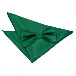 Emerald Green Plain Satin Bow Tie & Pocket Square Set