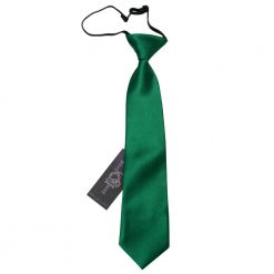 Emerald Green Plain Satin Elasticated Tie for Boys