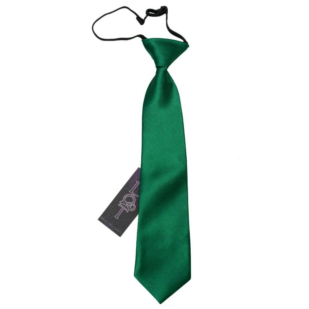2920807ec85e Emerald Green Plain Satin Elasticated Tie for Boys