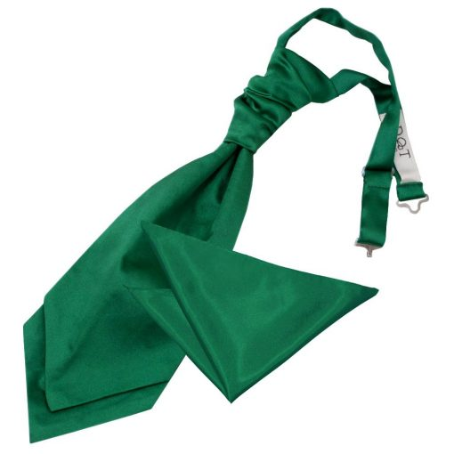 Emerald Green Plain Satin Wedding Cravat & Pocket Square Set