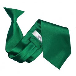 Emerald Green Plain Satin Clip On Tie