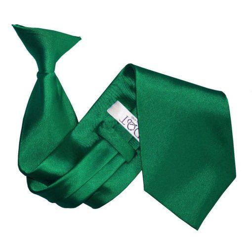 Emerald Green Plain Satin Clip On Tie