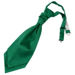 Emerald Green Plain Satin Pre-Tied Wedding Cravat