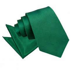 Emerald Green Plain Satin Tie & Pocket Square Set