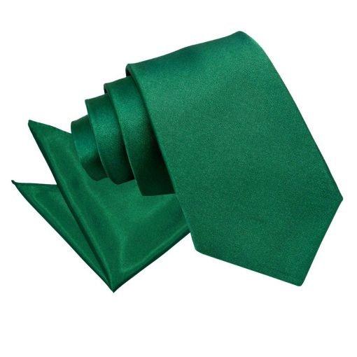 Emerald Green Plain Satin Tie & Pocket Square Set