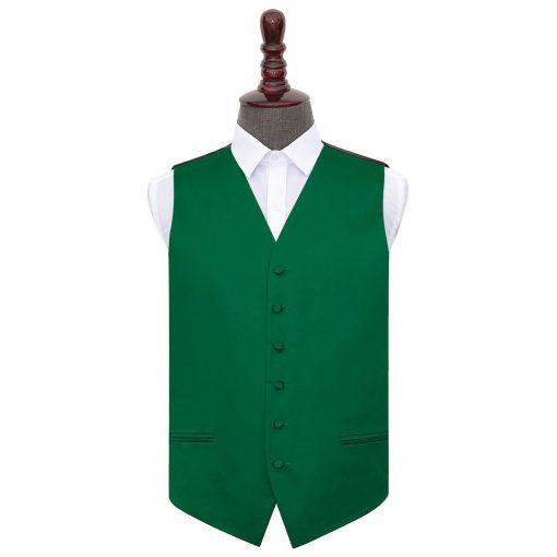 Emerald Green Plain Satin Wedding Waistcoat