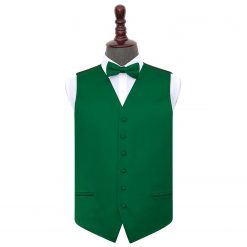 Emerald Green Plain Satin Wedding Waistcoat & Bow Tie Set