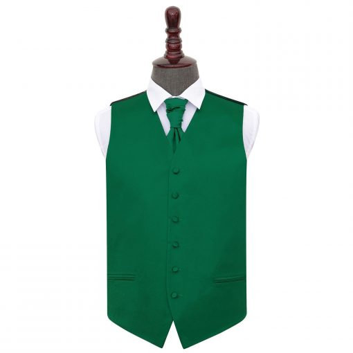 Emerald Green Plain Satin Wedding Waistcoat & Cravat Set