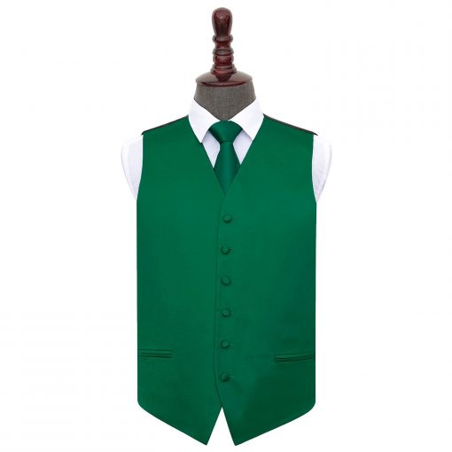 Emerald Green Plain Satin Wedding Waistcoat & Tie Set