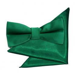 Emerald Green Plain Satin Bow Tie & Pocket Square Set for Boys