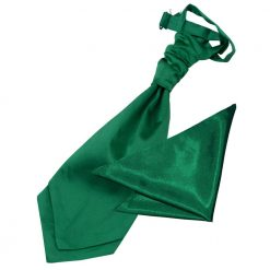 Emerald Green Plain Satin Wedding Cravat & Pocket Square Set for Boys