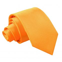 Fluorescent Orange Plain Satin Regular Tie for Boys