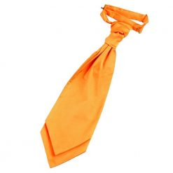 Fluorescent Orange Plain Satin Pre-Tied Wedding Cravat